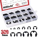 Hilitchi 300-Pcs Alloy Steel E-Clip Circlip External Retaining Ring Assortment Set - 1.5mm to 10mm