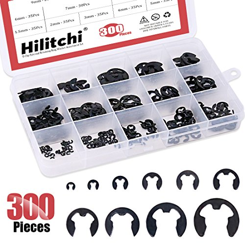 Hilitchi 300-Pcs Alloy Steel E-Clip Circlip External Retaining Ring Assortment Set - 1.5mm to 10mm by Hilitchi