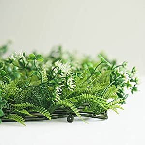 BalsaCircle 4 pcs Green Artificial Fern Leaves with White Mini Flowers UV Protected Wall Backdrop Panels Wedding Party Decorations Decorations Supplies 3