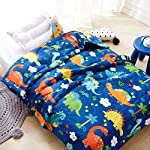 LIFEREVO-Cotton-Baby-Toddler-Blanket-Spring-Summer-Quilt-Fancy-Cartoon-Print-Lightweight-43-x-60-Inch-Blue-Dinosaur