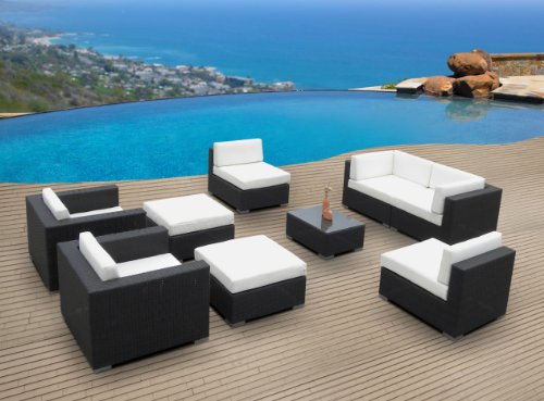 Outdoor Patio Furniture Wicker Sofa Sectional 9pc Resin Couch Set (Garden Lounge San Antonio)