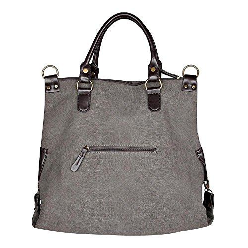 Bolso de las señoras de la estrella NEW-2016 Jeans Beuteltasche Strass Aplicación de la lona del bolso de hombro antiguos de la mirada de las señoras con las estrellas Grau/Schwarz 45x40x16 cm