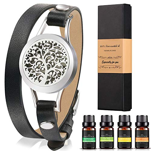 Aromatherapy Essential Oil Leather Diffuser Bracelet w/ Tea Tree, Lemongrass, Orange and Peppermint -10ML/pcs, Unique Gift Ideas for Women, Girls, Friend, Mom at Anniversaries, Birthday and Christmas