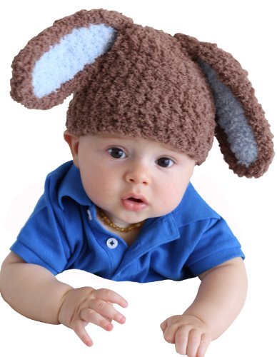 Melondipity's Brown and Blue Bunny Boy Baby Hat Soft and Cuddly - High Quality Yarn Easter Beanie for Boys Baby Hat (0-6 (Easter Bunny Beanie)