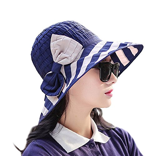 Promini Womens Summer Flap Cover Cap Cotton Naval Wind Striped Shade Hat
