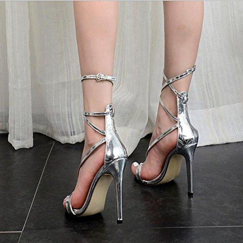 36 Cruzada 100 Zapatos Vuelta Silver Mzg Alta Femeninas De Con Del Sandalias Partido Cena Plata Correa La a4wq7Tnw