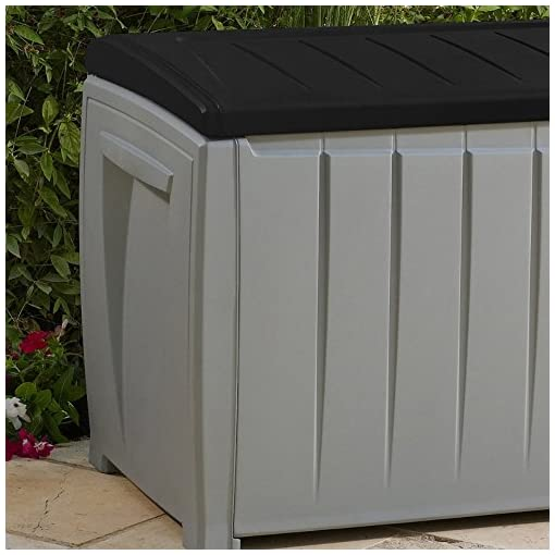 Deck Boxes Keynote Solid Resin Plastic Weather Water Resistant Two-Tone Gray/Black 90-Gallon Outdoor Deck Storage Box Bench Seat… outdoor deck boxes