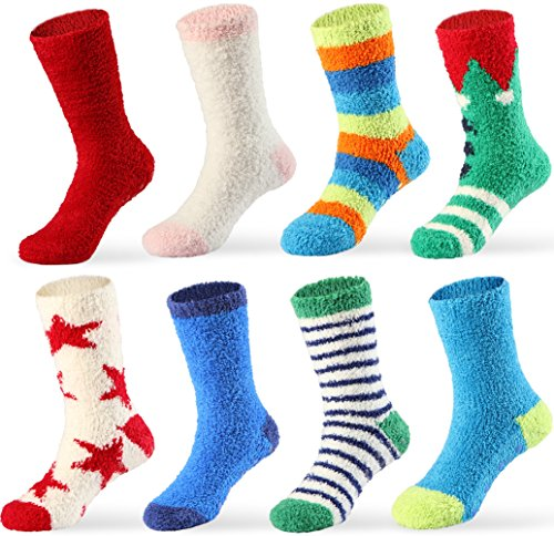 Price comparison product image 4 Pairs Girls Slipper Socks Thick Warm for Winter, Anti-Skid Fuzzy Crew Socks Fit Age 1-3 Years, 3-6 Years, 7-10 Years, Above 10 Years (4 Pairs, Fit Age Above 10 Years)