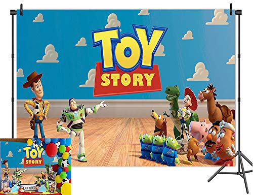 Cartoon Boy Toy Story Photography Backdrops It's A Boy Story Theme Wooden Floor Wallpaper Photo Background Birthday Party Decoration Baby Shower Banner Studio Props Vinyl 7x5ft