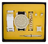 Techno Pave Fashion Jewelry GIFT Set: Gold Plated Watch + Extra Watch Band + Gold Plated Bracelet + Iced out Earrings & Ring [Gift Set]