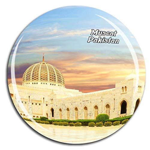 Grand Mosque Muscat Oman Asia Fridge Magnet 3D Crystal Glass Tourist City Travel Souvenir Collection Gift Strong Refrigerator Sticker