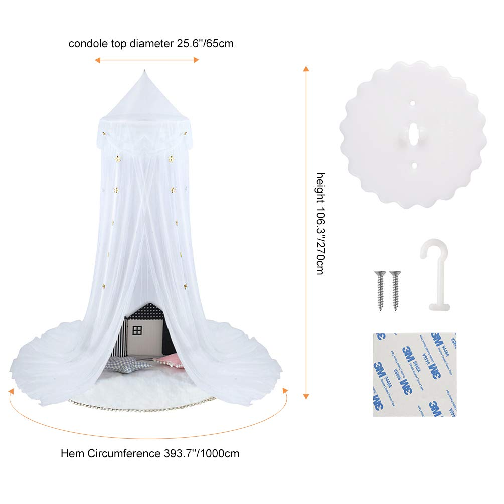 Uarter Bed Canopy Mosquito Net for Kids Bed Conical Curtains Kids Play Tent with Stars for Boys and Girls Blue//White Installation-Free