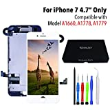 for iPhone 7 (4.7 Inch) LCD Screen Replacement Kit + [ Proximity Sensor] + [ Ear Speaker] + [ Front Camera] + [ Repair Tools] + [ 3D Touch] Compatible with Model A1660, A1778, A1779 (White)