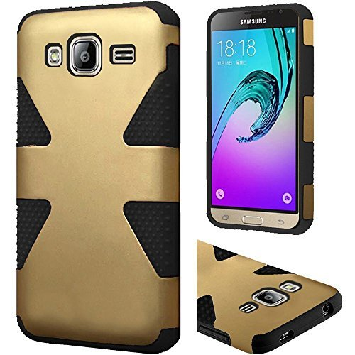Samsung Galaxy J3,Galaxy amp Prime Case, Bastex Dynamic Slim Fit Heavy Duty Protection Hybrid Dual Layer Hard Plastic Case Rubber Silicone Cover - Black + Gold