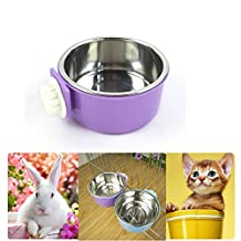 Namsan Pet Hanging Cage Bowl,Stainless Steel Dog Bowls,2 in 1 Small Animal Food&Water Bowl-Purple