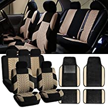 FH-FB071115 Complete Set Travel Master Seat Covers Airbag Ready & Rear Split with F14407 Premium Carpet Floor Mats Beige / Black - Fit Most Car, Truck, Suv, or Van