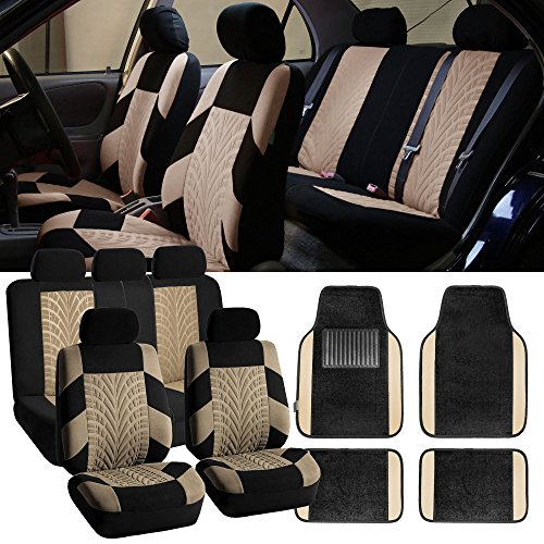 FH-FB071115 Complete Set Travel Master Seat Covers Airbag Ready & Rear Split with F14407 Premium Carpet Floor Mats Beige / Black - Fit Most Car, Truck, Suv, or Van (Pontiac G6 Heated Seats compare prices)