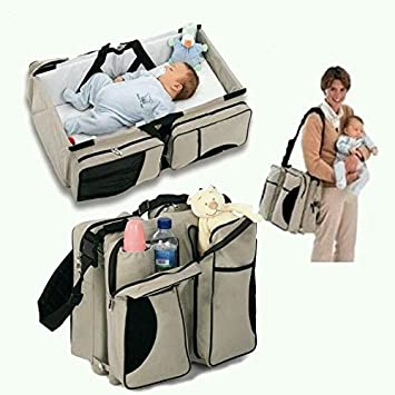 4eb59ca76ac19 Amazon.com   Baby Travel Bed Bag 3 in 1 Diaper Bag Baby Portable Crib Travel  Bassinet for Toddlers Change Station -Tan   Baby
