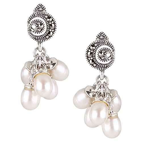 Somma 925 Silver Made with Swarovski Marcasite Dangle Drop Earrings for Women