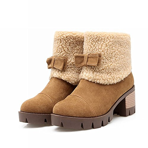 Mee Shoes Damen Nubukleder warm gefüttert chunky heel kurzschaft Stiefel Gelbbraun
