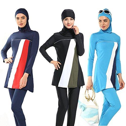 Highdas Mujeres Musulmanes traje de baño de manga larga traje Hijab islámico traje de baño azul oscuro