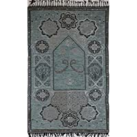 Modefa Islamic Prayer Mat Janamaz Sajjadah Thin Woven Chenille Arabesque Waw (Gray)