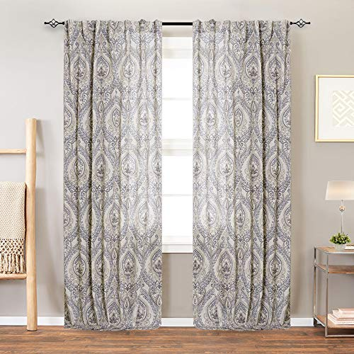 (Damask Printed Curtains for Bedroom Drapes Vintage Linen Blend Medallion Curtain Panels Window Treatments for Living Room Patio Door 2 Panels 84