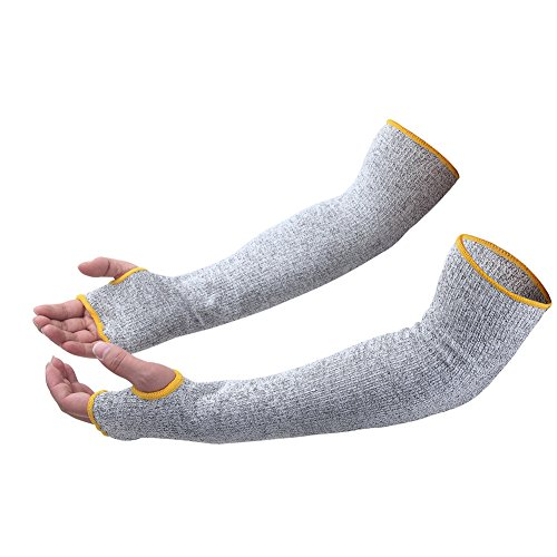 Cut Resistant Sleeves with Thumb Hole, Level 5 Protection, Slash Resistant Safety Protective Arm Sleeves,17 inch, Grey (1 Pair) (Protective Forearm Sleeve)