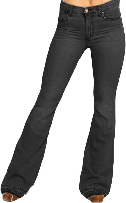 Aooword Womens Bell Bottom Pants Retro High Waist Fashion Denim Jeans