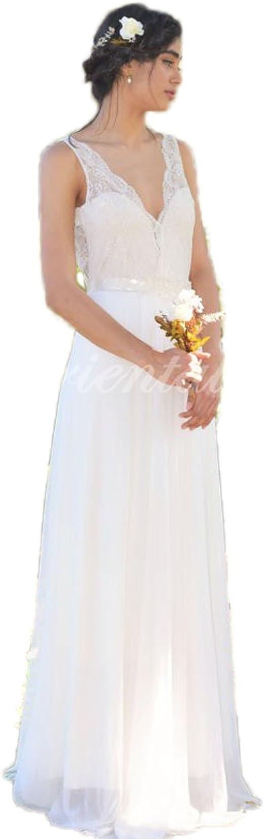 CoCogirls Jahrgang Spitze Boho Hochzeitskleider Sommer Strand  Hochzeitskleid Braut V-Ausschnitt Rückenfrei Brautkleider