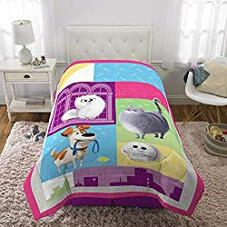 "Franco Kids Bedding Super Soft Comforter, Twin Size 64"" x 86"", Secret Life of Pets 2"