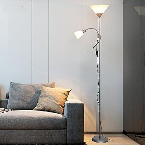 Cabeza doble madre luz vertical sala de estar lámpara de pie ...