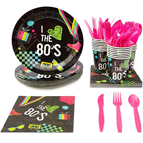 Blue Panda I Love The 80s Birthday Party Supplies (Black, 24 Pack)