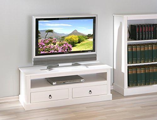 Mueble para televisor, color blanco, diseño rústico de pino maciza ...