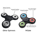 YKSale Hands Fidget Tri-Spinner Focus ADHD Anxiety Relief Toys Stress Reducer Ultra Durable High Speed Stainless Steel Bearing,Up to 3 Min Spins (Black)
