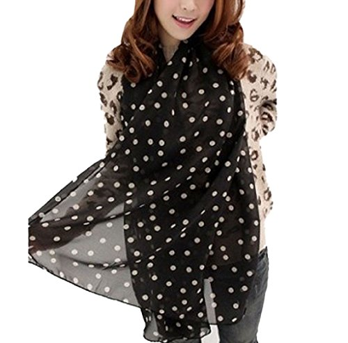 t Scarf Wrap Polka Dot Shawl Scarve For Women (Black) (Dotted Knit Dress)