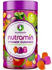 NUTRAMIN Daily Vegan Keto Multivitamin Gummies Vitamin C, D3, and Zinc for Immunity, Plant-Based, Sugar-Free,