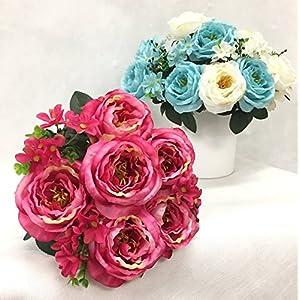 """Silk Flower Garden Artificial English Rose Bouquet 15"""" 72"""