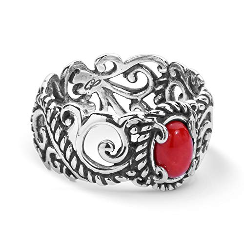 (Carolyn Pollack Sterling Silver Red Coral Rope and Scroll Band Ring Sizes 5)