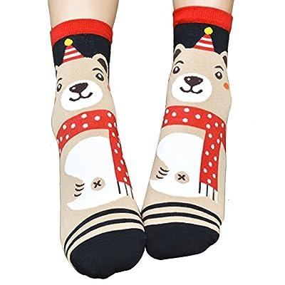 Doinshop Christmas 3D Animal Striped Socks Women Footprints Cotton Ankle Socks Floor