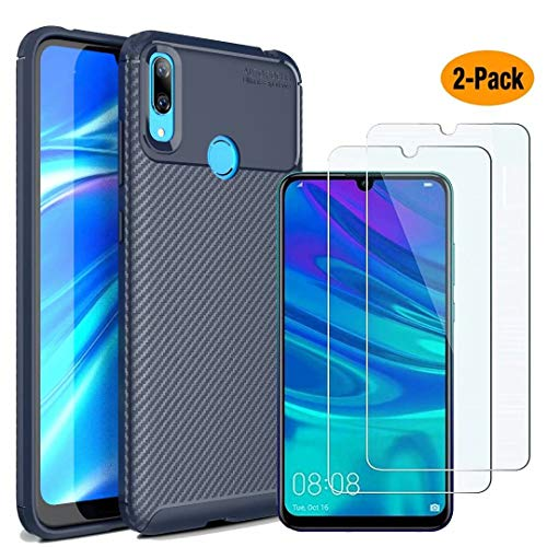 MYLB-US Huawei Y7 2019 case and Screen Protector, [3 in 1] Ultra-Thin high-Grade Soft TPU Silicone case Carbon Fiber Design case, Suitable for Huawei Y7 2019 Smartphone case(Blue) (Best Large Smartphone 2019)
