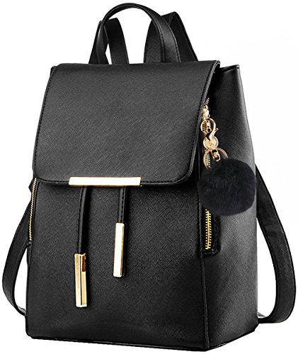 COOFIT Black Faux Leather Backpack for Girls Schoolbag Casual Daypack (Black with - Black Leather Fashionable