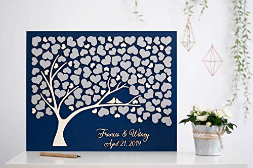 Silver Leaf Guest Book - Yilooom Silver Tree Wedding Guest Book Alternative Tree Wood Custom Unique Guest Book Hearts Leaves Rustic Wedding Rustic Wooden Tree of Life