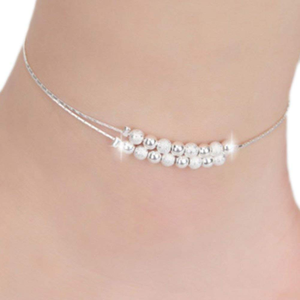 DDG EDMMS Women Party Anklets Double Beads Shape Silver Chain Sparkly Ankle Bracelet Jewelry Ideal Gifts for Wife Or Girlfriend Women Gift Set DDG EDMMS