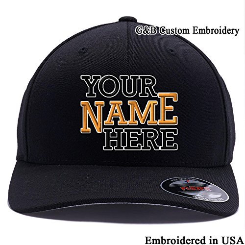 (Yupoong Custom Hat, 6477 Flexfit, Custom Logo or Name Embroidered. Place Your Own Text, Curved Bill. (L/XL, Black))
