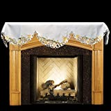 Linens, Art and Things Emboidered Fireplace Mantel Scarf with Yellow and White Lilies and Cut Work 19'' x 90''