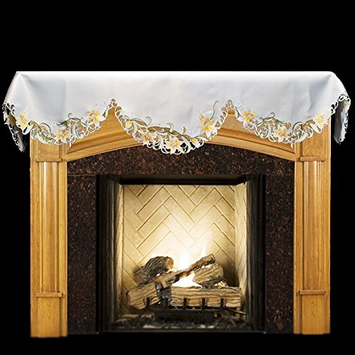Linens, Art and Things Emboidered Fireplace Mantel Scarf with Yellow and White Lilies and Cut Work 19'' x 90'' by Linens, Art and Things