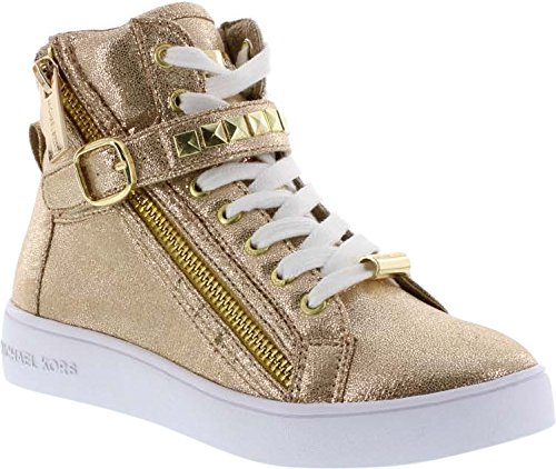MICHAEL Michael Kors Girl's Ivy Metallic High-Top Sneaker, 13 Little Kid - Gold Michael Kors Flats