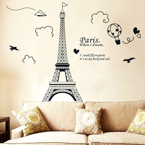 Amazon.com: Home Decor Art Large Removable Wall Decals Paris Eiffel Tower  Wall Stickers #04: Home U0026 Kitchen
