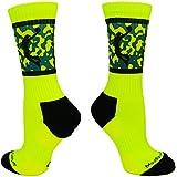 MadSportsStuff Basketball Socks with Player on Camo Athletic Crew Socks (Neon Yellow/Black, Large)